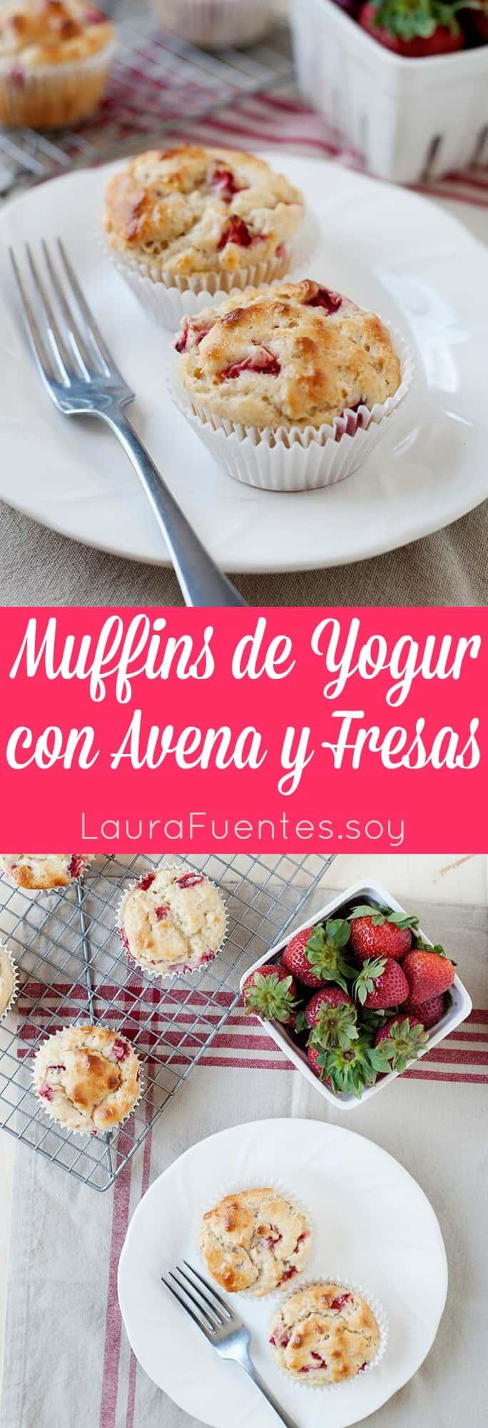 Estos Muffins de Yogur con Avena y Fresas son súper sencillos y toda la familia los amará.